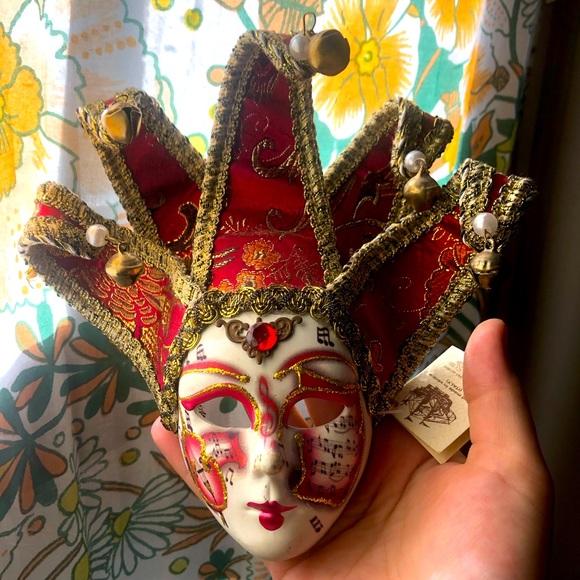 Hand painted Italian ceramic mask wall decor